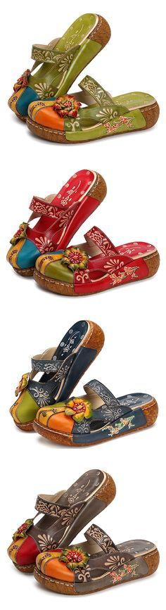 US$48.47 SOCOFY Vintage Colorful Leather Hollow Out Backless Flower Shoes