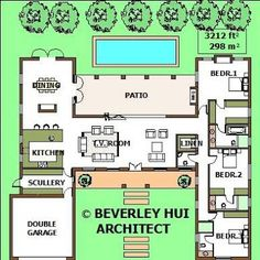 House Plans With Pools u-shaped house plans with pool in the middle pg2| architect