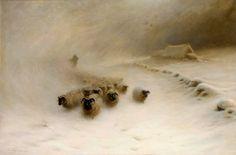 Joseph+Farquharson+-+A+Flock+of+Sheep+in+a+Snowstorm.jpg (1366×900)IMPRESIONANTE!!!!!!