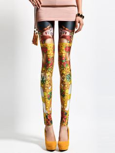 Trendy Gold Artwork Spandex Womens Leggings - Milanoo.com