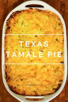 Texas Tamale Pie - In Texas we love tamales. Texas Tamale Pie is a spin on beef tamales. Tamale Casserole, Easy Casserole Recipes, Pie Recipes, Cooking Recipes, Cooking Ideas, Dinner Recipes, Casserole Dishes, Beef Recepies, Recipes