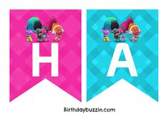 "Decorating a venue for a Trolls party? We've made this FREE printable Trolls Birthday Banner you can use to make your own banner for your little one's big day. The banner templates include all the letters needed to spell out the words ""Happy Birthday"". There are two letters to an A4 piece of paper. All …"