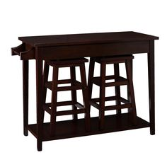 Add a contemporary look to your kitchen or dining room with this charming coffee table set. This table set includes hideaway stools to save space and side-by-side drawers to store utensils and napkins. This set is a great addition to any home.