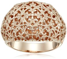 Rose Gold Plated Sterling Silver Filigree Ring, Size 7 -- Learn more by visiting the image link. (This is an Amazon Affiliate link and I receive a commission for the sales)