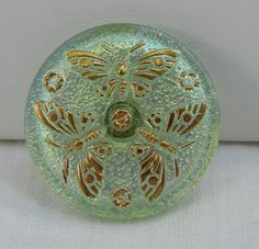 Three Butterflies Czech Glass Button by MostlyButtons on Etsy, $5.00