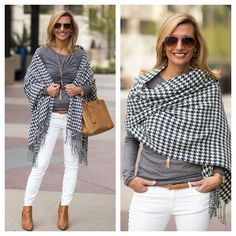 ONLY TWO LEFT - Our best selling Charcoal and Ivory houndstooth wrap is the perfect wrap you can take into spring with you - LAST 2 PIECES 10% OFF WITH CODE JS10 PLUS FREE SHIPPING DON'T WAIT THEY WILL GO FAST! www.jacketsociety.com