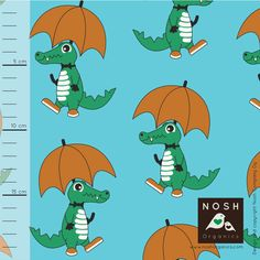 The Fabric Fairy Rainy Day Organic Cotton Lycra Knit Fabric by Nosh Organics, Capri Blue Colorway