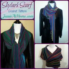 Skylark Scarf Crochet Pattern Easy Skill Level Designed by Jessie Rayot Skylark is not your typical scarf. It is made at an angle, a little off kilter, and a little wider than most scarves, making ...