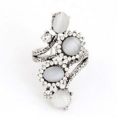 Vintage Opal Stones Decorated Costume Ring - White