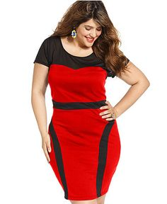 Trixxi Plus Size Dress, Short-Sleeve Colorblocked (currently ON SALE) // I tried this on via @Gwynnie Bee and fell in LOVE