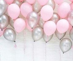 pink and silver baloon