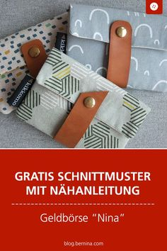 """Instructions small wallet """"Nina""""- Anleitung kleines Portemonnaie """"Nina"""" Free sewing pattern with sewing instructions: Sew purse & wallet """"Nina"""" - Sewing Patterns Free, Free Sewing, Sewing Tutorials, Free Pattern, Knitting Patterns, Sewing Projects, Sewing Hacks, Bag Sewing, Beginners Sewing"""