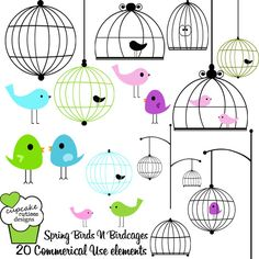 Spring Birdcages and Build a Bird Cage  Clipart.  Whimsical  designs that would look amazing on cards, stationary, or any project.  Use on scrapbooking pages, paper, or elements.  Sweet and adorable designs. These would make great web buttons and for web designs.