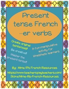 Do you need a new way for your students to practice -er verb conjugations?  Do you want to reach a variety of learning styles?  If so, you need this FREE activity!  It is quick, fun, and easy-to-do!   Students cut apart -er verb expressions to make complete sentences.   1.