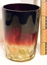 "Victorian AMBERINA 19th cent art glass 4"" tumbler inverted thumbprint deep reds"
