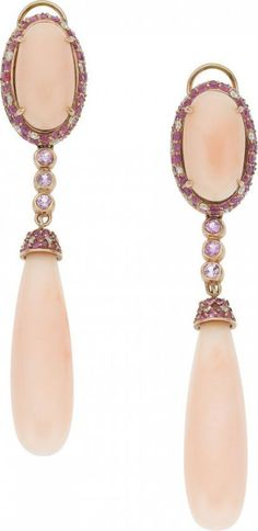 Coral, Sapphire, Diamond, Pink Gold Earrings. ht