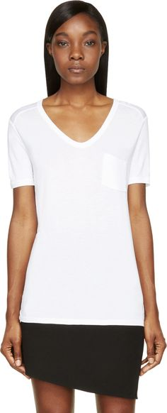 T by Alexander Wang - White Classic Pocket T-shirt