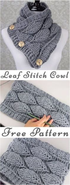 Leaf Stitch Cowl for Ladies (C)