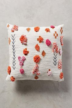 Anthropologie Heradia Pillow - Embroidered slubbed cotton with hand-applied acrylic and nylon embellishments - [ad]
