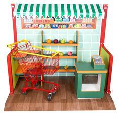 Uma cidade cenográfica sob o tema Mercadinho, para a garotada se divertir como se estivesse no mercado de verdade. Esse kit é formado por: - 4 prateleiras de canto, sendo 2 de cada lado - 1 estante ce... Toy Storage Furniture, Doll Furniture, Baby Toys, Kids Toys, Wooden Toy Kitchen, Play Corner, Playroom Design, Play Houses, Kids Playing