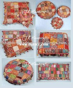 Indian Beaded Embroidery Decorative floor cushions.