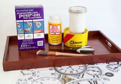 Enviro Tex Lite, decoupage, paste wax, scissors and paint brush