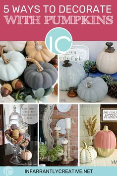 Pumpkins are the perfect fall accessory in orange, white, blue and even pink! On the blog, I'm sharing 5 ways to decorate pumpkins. #falldecor #pumpkins Easy Diy Crafts, Fall Crafts, Holiday Crafts, Knock Off Decor, Painted Pumpkins, Fall Diy, Fall Home Decor, Diy Wood Projects, 5 Ways