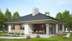 Современный одноэтажный дом с крытой верандой Adele, Modern House Plans, Bungalow, My House, Gazebo, Sweet Home, Exterior, House Design, Outdoor Structures