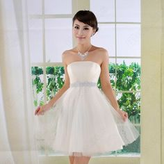 Discount China china wholesale Empire Strapless Sequin A-Line Ball Gown Short Wedding Dress [31049] - US$32.99