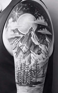 mountain,moon, tree sleeve tattoo