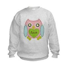 Personalize it! Lovely Owl-Petal Kids Sweatshirt> Personalize it! Lovely Owl-Petal> DrapeStudio - PERSONALIZE OnLINE! fun cutie owl design - see all other fun products with this design www.cafepress.com/drapestudio ; fabric by the yard www.spoonflower.com/profiles/drapestudio OR visit our main site for more designs & gift ideas www.drapestudio.com
