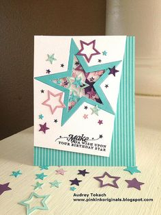 Star shaker PTI Tipped Tops - LOVE this card and the colors used (Star Confetti by Audrey at pinkinkoriginals) Handmade Birthday Cards, Greeting Cards Handmade, Confetti Cards, Star Cards, Graduation Cards, Card Making Inspiration, Planner, Cool Cards, Kids Cards