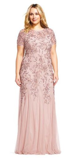 Floral Beaded Godet Gown with Sheer Short Sleeves Dress Backs, Dress Up, Full Length Gowns, Beaded Gown, Groom Dress, Types Of Collars, Types Of Sleeves, Short Sleeves, Bridesmaid Dresses