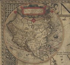 Hondius, Jodocus, 1563-1612. Nova totius Europae descriptio (detail showing North America), 1595.