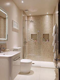 Diy Bathroom, Beige Bathroom, Bathroom Layout, Master Bathroom, Remodel Bathroom, Shower Bathroom, Bathroom Remodeling, Bathroom Niche, Remodeling Ideas