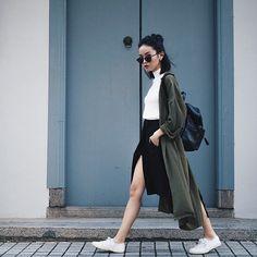"Look confortavel : Camista + saia e ""kimono"" verde militar"