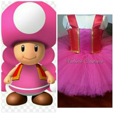 Toadette Super Mario Bros Brothers Inspired Tutu by ValureCouture Luigi Toadette Princess Toadstool Peach Mario Dance Christmas Gift Halloween Costume Pageant Birthday Newborn Baby Infant Toddler Youth