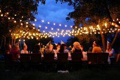 Garden Party Lights Summer Nights Long Tables 63 Ideas In summer te. Backyard Party Lighting, Outdoor Fairy Lights, Outdoor Lighting, Lighting Ideas, Boho Lighting, Wedding Lighting, Lighting Design, Outdoor Dinner Parties, Backyard Parties