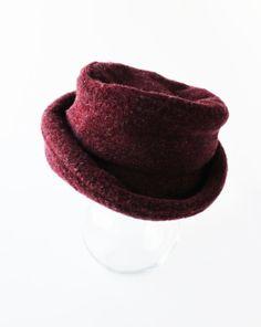 087cd897864 Vintage cloche hat with a floppy brim Bordeaux by ZiZuCorner