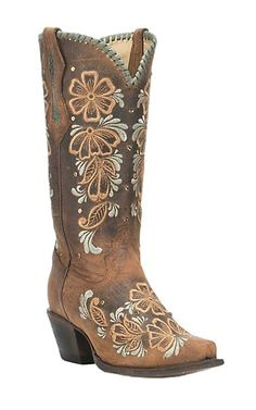 Corral Boot Company Women's Dark Brown with Orange and Tan Embroidered Floral Print Western Snip Toe Boots | Cavender's