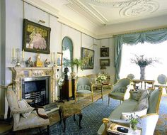 blue sitting room at Clarence House, home of Prince Charles and Camilla