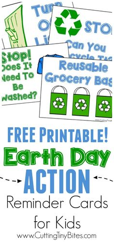 Printable Earth Day Action Reminder Cards for Kids.  What can kids do around the house to help the planet?  Help them remember with these simple cards!