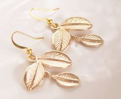 Gold Leaf Earrings Dangle Drop Style Gold Plated by JewelryTarget, £12.00