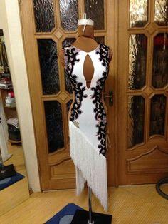 white black diagonal fringe cutaway long latin dress