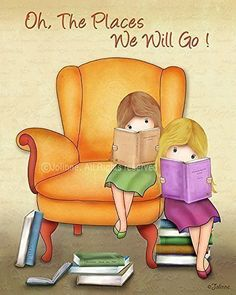 """Artwork for Girls Room Decor Reading Books Nursery Print Kids Illustration School Library Picture Unframed Poster 8x10 / 11x14 Oh the Places You'll Go! Custom Hair Skin Color. """"Oh the Places You'll Go!"""" Art Print - The perfect addition to any kids room or book nook! *Available in a variety of different hair/skin colors, this personalized art will look fantastic anywhere! *Printed on photographic Luster paper using pigment ink, guaranteed to last forever so it's rich details and vibrant..."""
