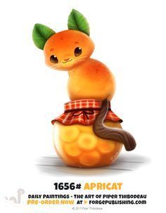 Daily Painting by Cryptid Creations on DeviantArt : Daily Painting 1656 Apricat by Cryptid Creations Cute Food Drawings, Cute Animal Drawings, Kawaii Drawings, Anime Animals, Cute Animals, Animal Puns, Animal Food, Dibujos Cute, Cute Creatures