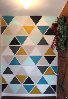 The House Diy Triangle Wall Painting Metallic Wall Paint. The House Diy Triangle Wall Painting Metallic Wall Paint Diy Art Projects Canvas, Geometric Wall Paint, Diy Tapete, Boys Bedroom Paint, Herringbone Wall, Wall Painting Decor, Wall Writing, Triangle Wall, Diy Wallpaper
