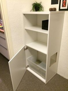 Ikea besta hack for hallway litterbox...conceal cuts with wipeable or washable fabric or other paw cleaning material attached with self-adhesive hook and loop tape