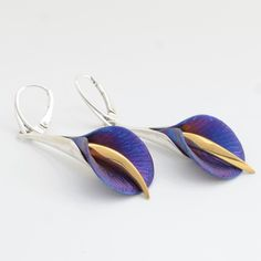 Large Blue Calla Lily earrings in titanium, Sterling silver and gold plating.
