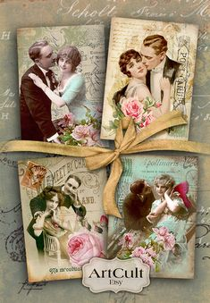 VINTAGE COUPLES - Printable Gift tags, Digital Collage Sheet, Jewelry holders, Ephemera Valentine greeting cards, ACEO, Art Cult downloads
